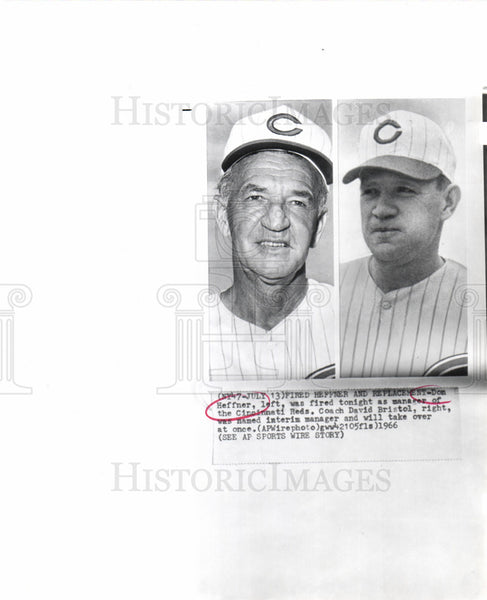 1966 Press Photo Don Heffner David Bristol Manager Reds - Historic Images