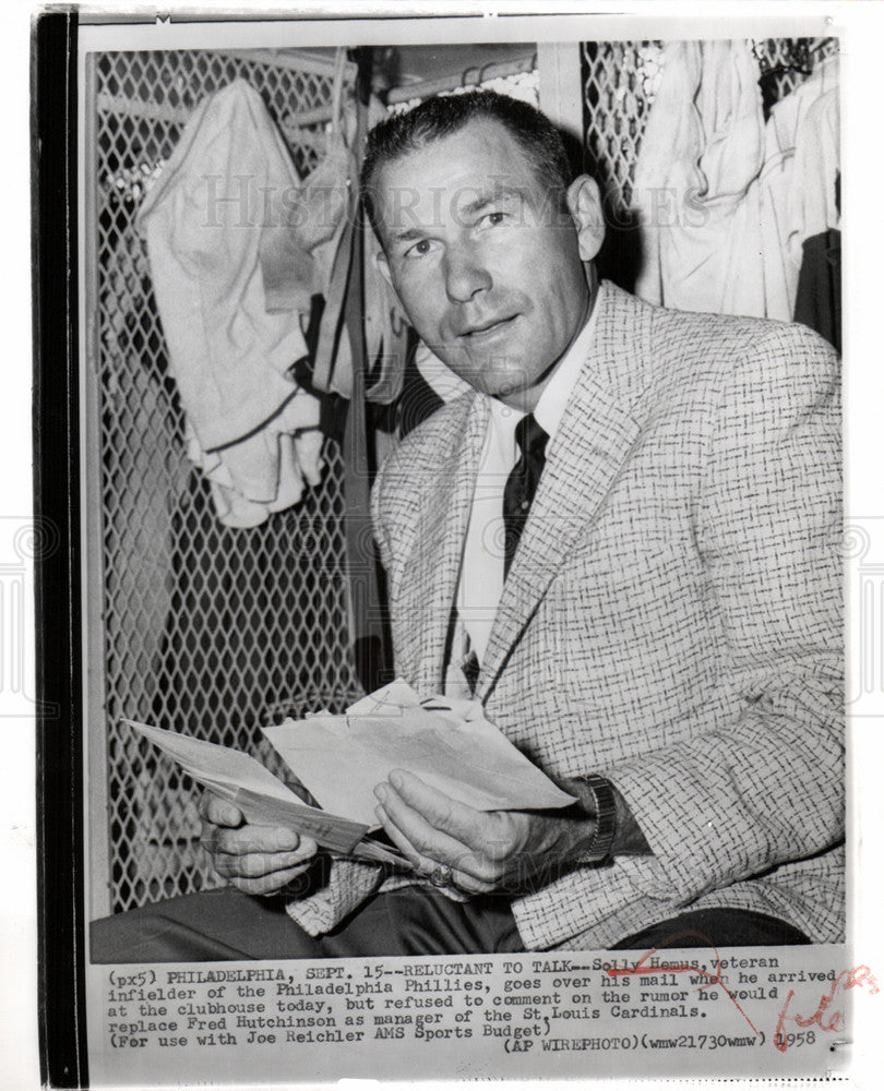 1958 Press Photo Solly Hemus Philadelphia Phillies - Historic Images
