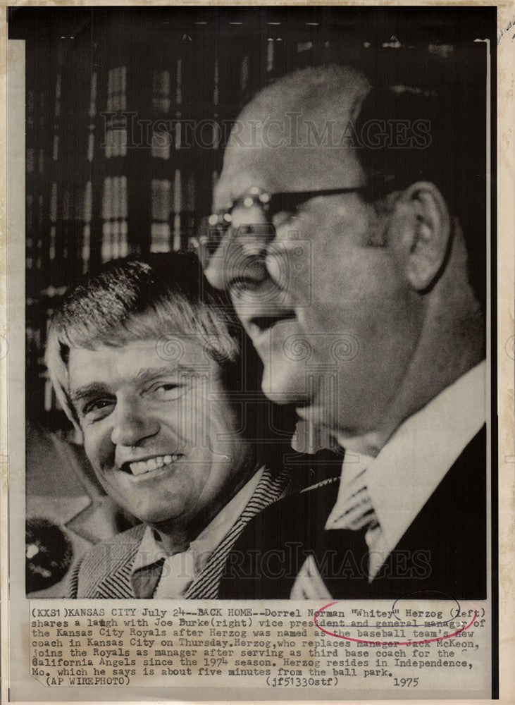 1975 Press Photo Whitey Herzog Baseball manager - Historic Images