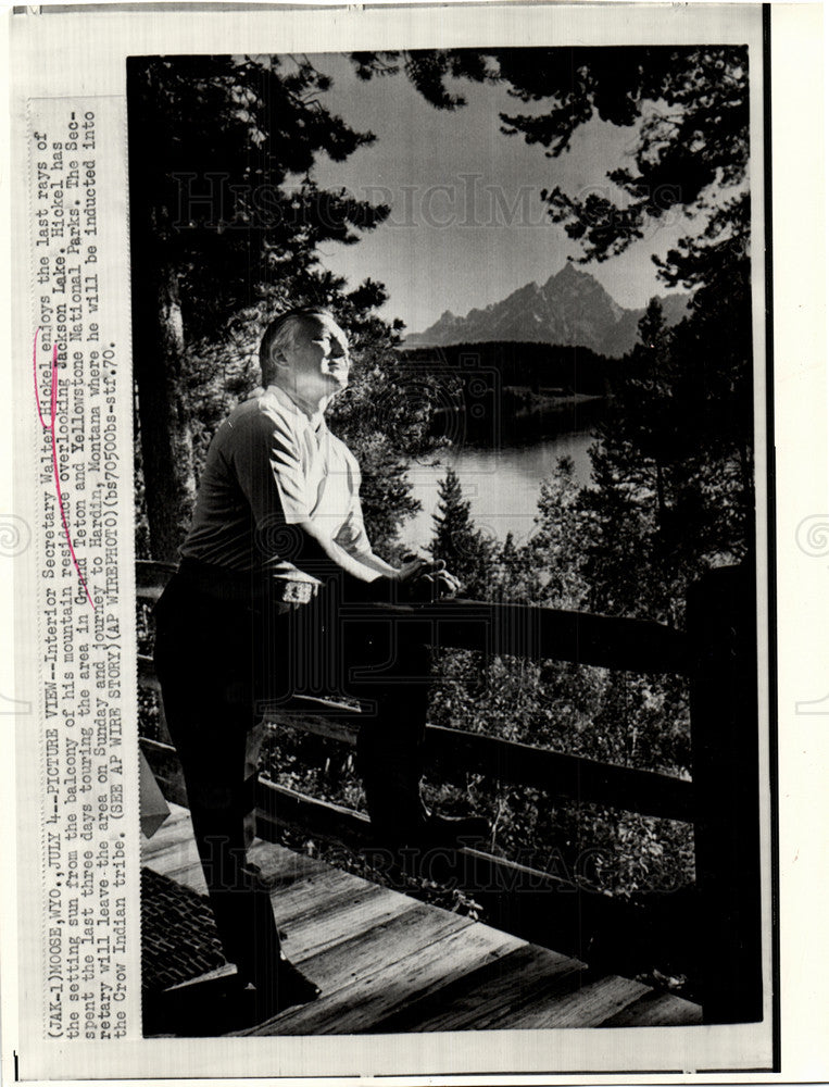 1970 Press Photo Hickel Jackson Lake Grand Teton Park - Historic Images