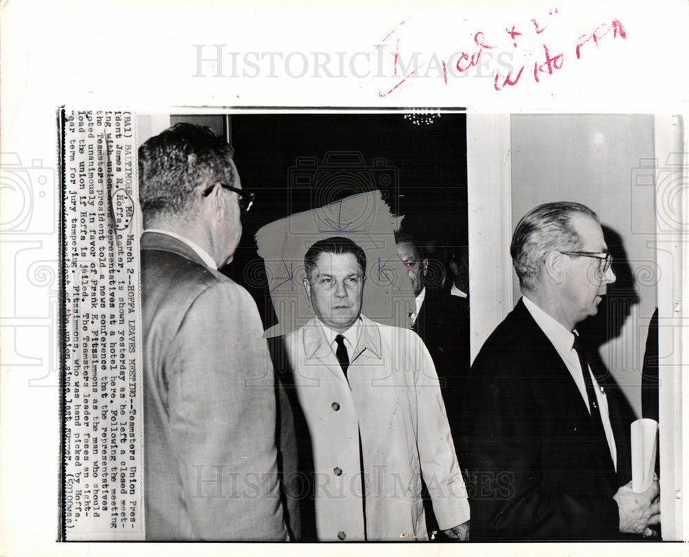 1967 Press Photo James Riddle Jimmy Hoffa labor leader - Historic Images