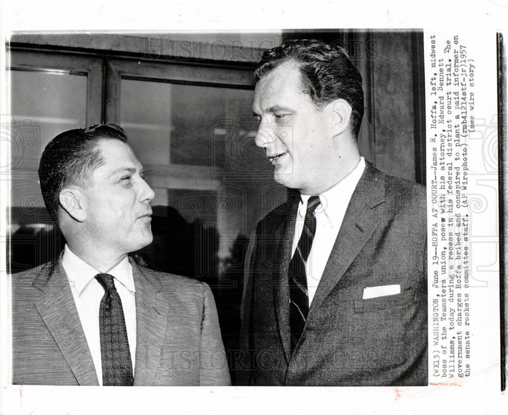 1957 Press Photo James Hoffa Edward Bennett Williams