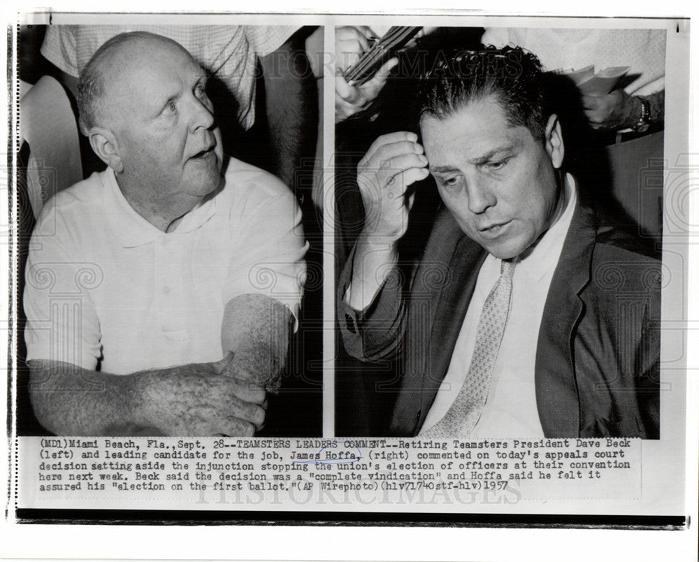 1957 Press Photo Hoffa Americanlabor union leader - Historic Images