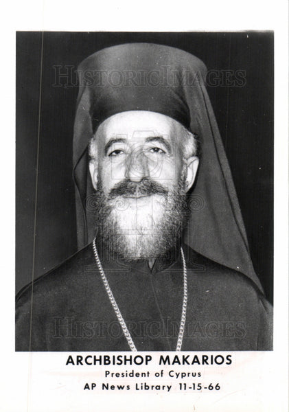 1966 Press Photo Archbishop, makarios, cyprus,president - Historic Images