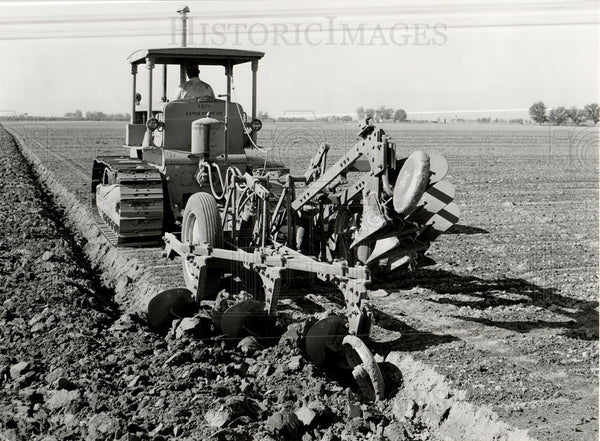 1955 Press Photo Plow Farming Farm Farmer Field Tractor - Historic Images