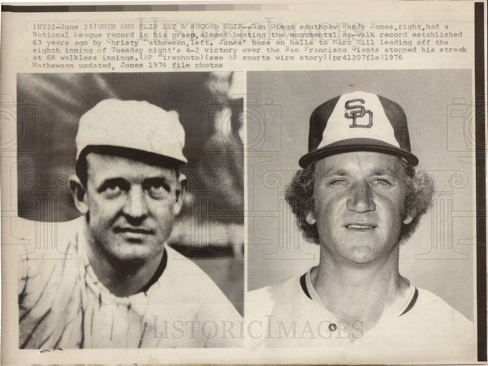 1976 Press Photo Randy Jones Baseball - Historic Images