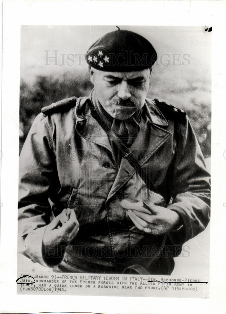 1944 Press Photo Juin commander French forces Italy - Historic Images