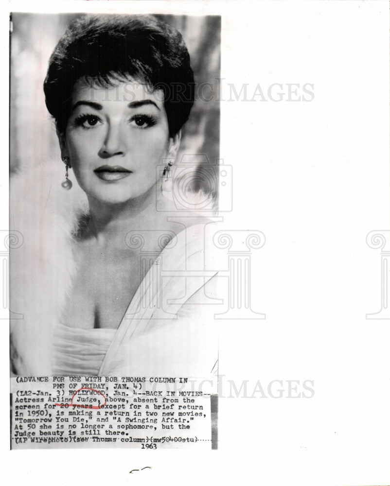 1963 Press Photo Arline Judge American actress - Historic Images