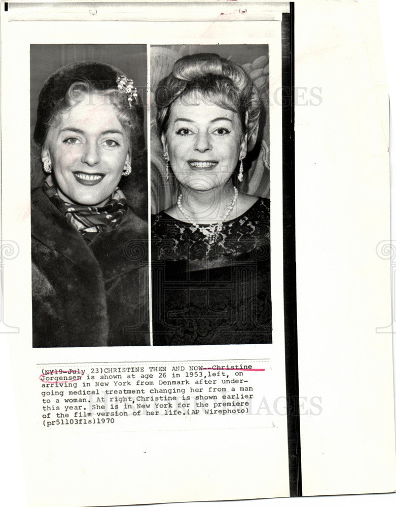 1970 Press Photo Christine Jorgensen first widely - Historic Images