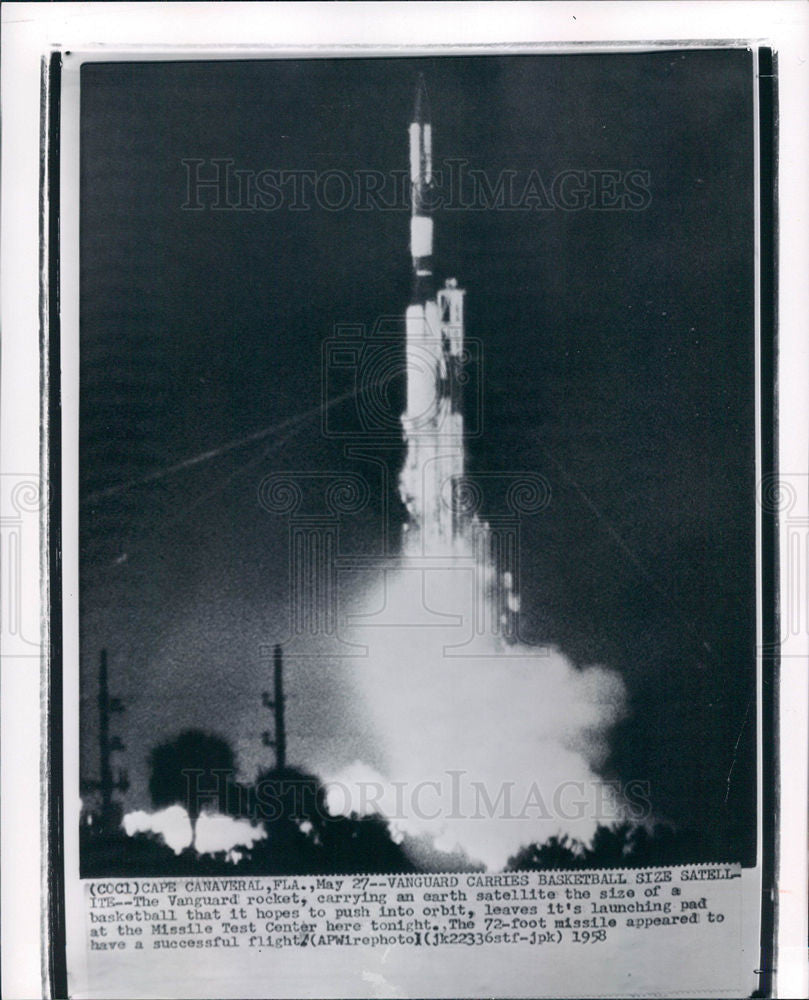 1958 Press Photo Vanguard Cape Canaveral satellite - Historic Images