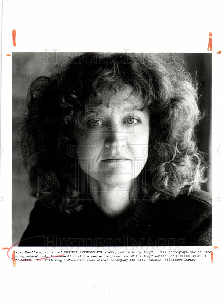1989 Press Photo Janet Obscene Gestures For Women Knopf - Historic Images