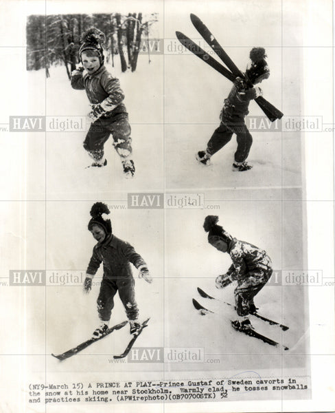 1952 Press Photo Price Gustaf Sewden skiing snow - Historic Images
