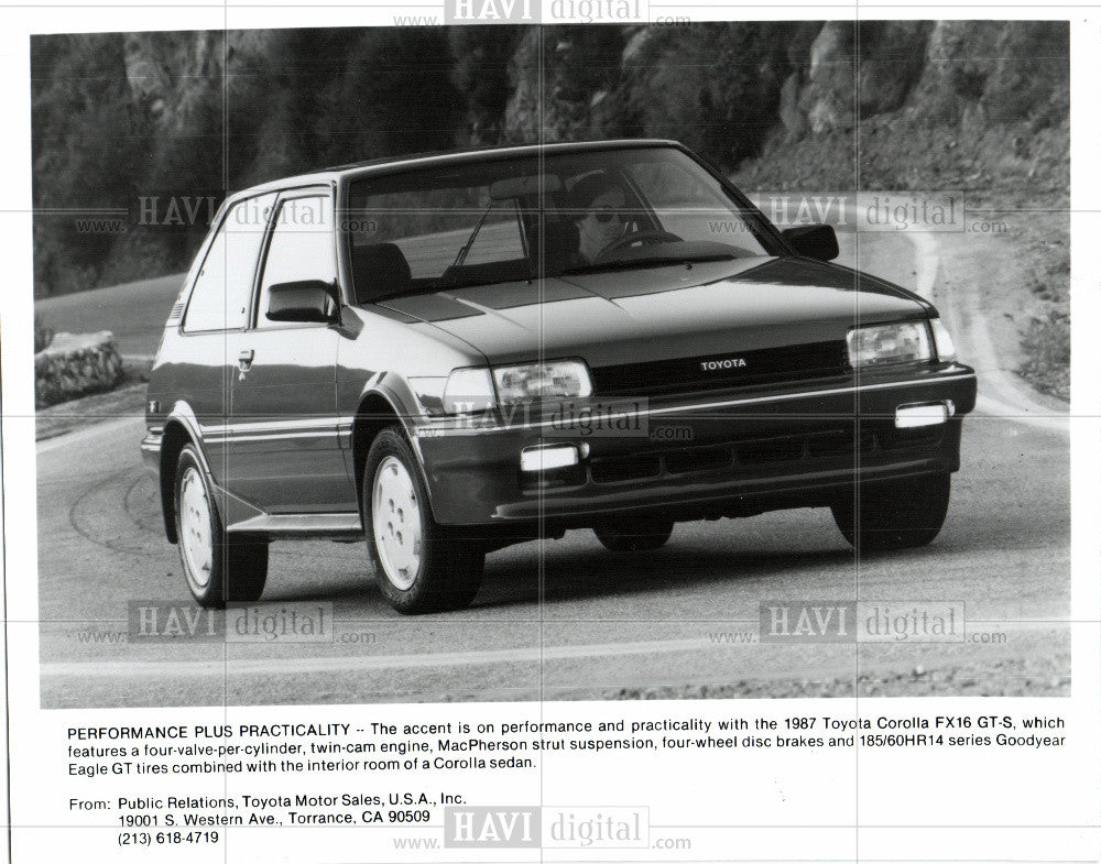 1986 Press Photo 1987 Toyota Corolla FX16 GT-S specs - Historic Images