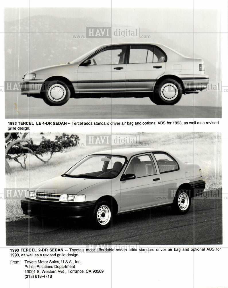 1992 Press Photo 1993 Tercel 2-DR Sedan, Toyota - Historic Images