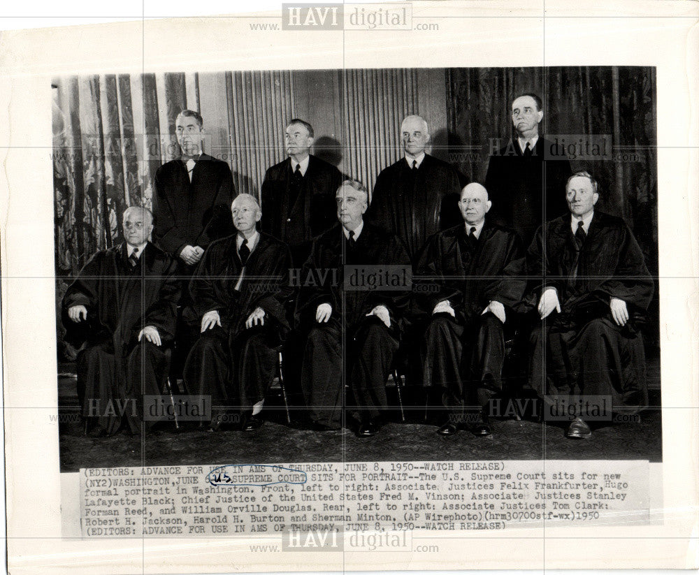 1950 Press Photo U.S.. Supreme Court formal portrait - Historic Images