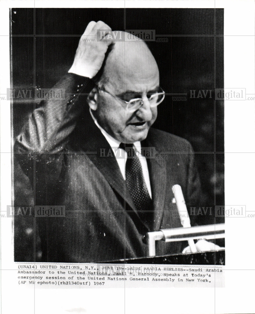 1967 Press Photo Jamil M Baroody Aabia Ambassador UNO - Historic Images