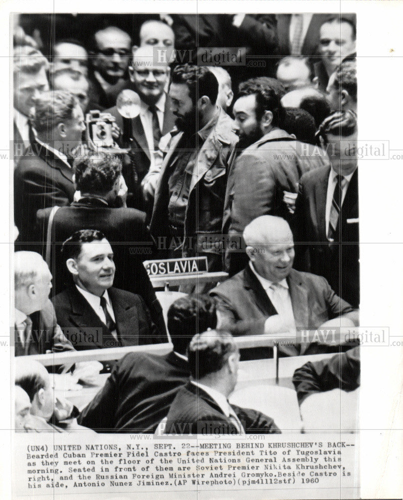 1960 Press Photo Fidel Castro Khrushchev Gromyko - Historic Images