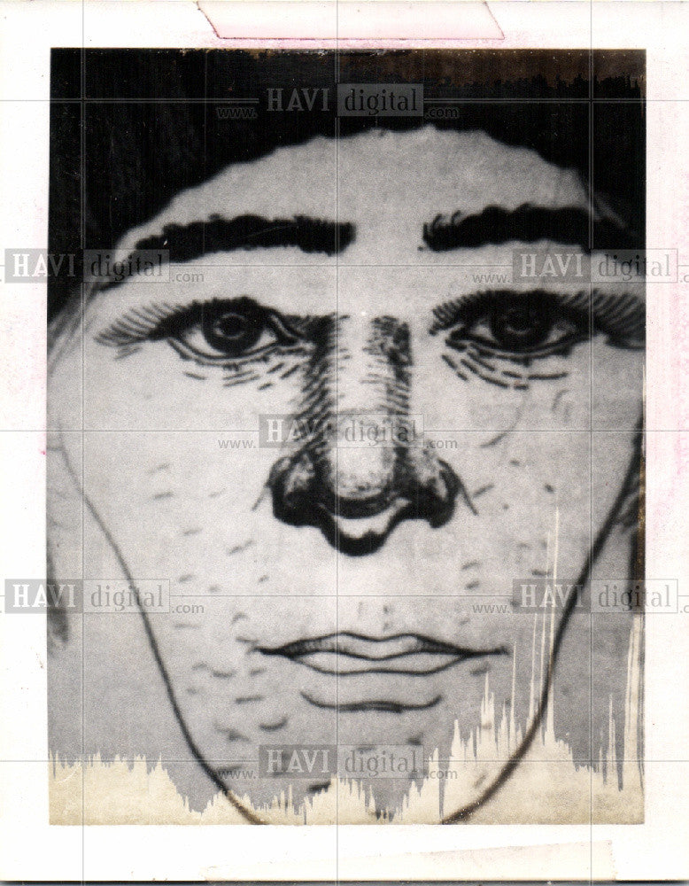 Press Photo Sketch of Face - Historic Images