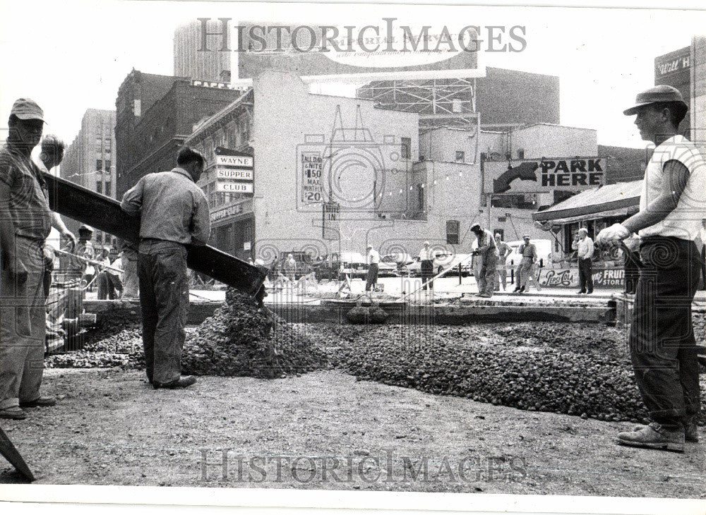 1958 Press Photo Wayne street michigan cement - Historic Images