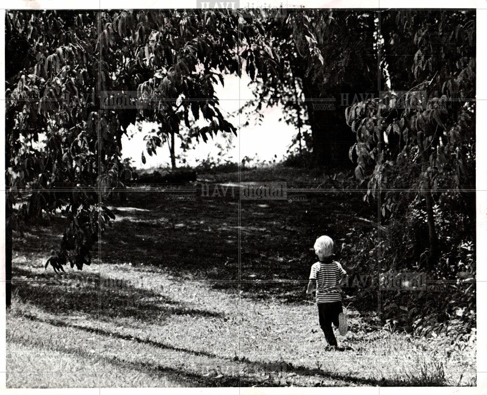1974 Press Photo Children, green, fresh air, playing - Historic Images