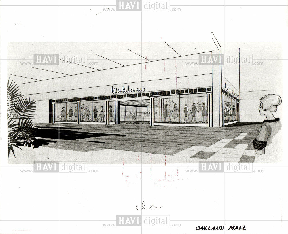 1968 Press Photo Winkelman's  Oakland Mall sketch - Historic Images