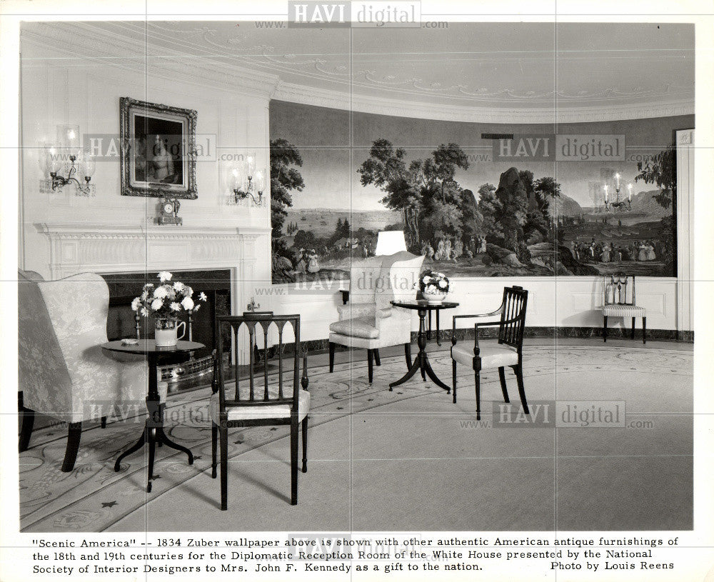 1961 Press Photo Diplomatic Reception Room White House - Historic Images