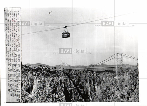 1969 Press Photo cable car Royal Gorge Colorado - Historic Images
