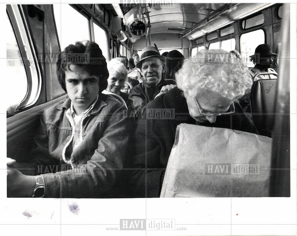 1977 Press Photo Motor City bus communal places heart - Historic Images