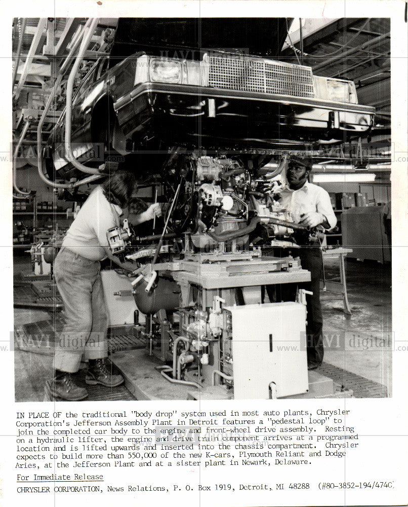 1982 Press Photo Chrysler K-cars  Jefferson Plant - Historic Images