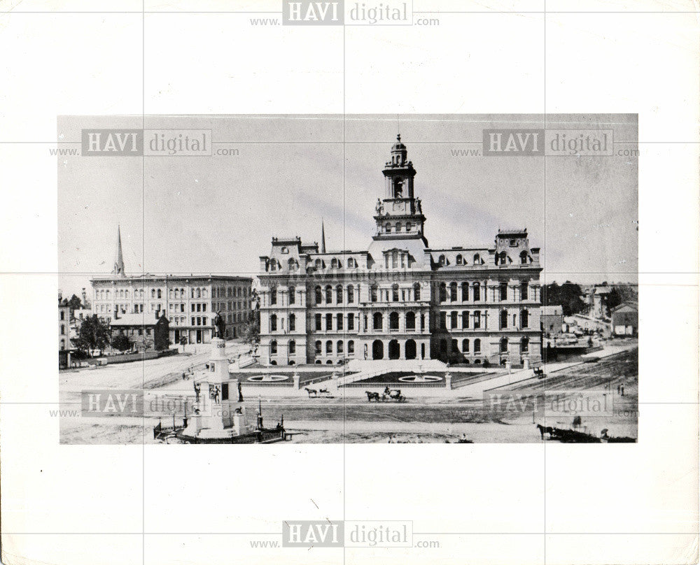 1958 Press Photo Detroit City Hall Historic - Historic Images