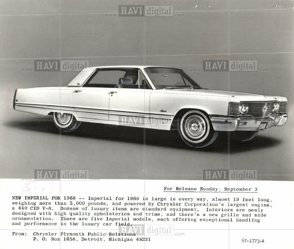 1968 Press Photo 1968 Chrysler Imperial - Historic Images