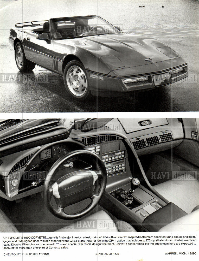 1990 Press Photo Corvette: Chevy targeted 500,00 buyers - Historic Images