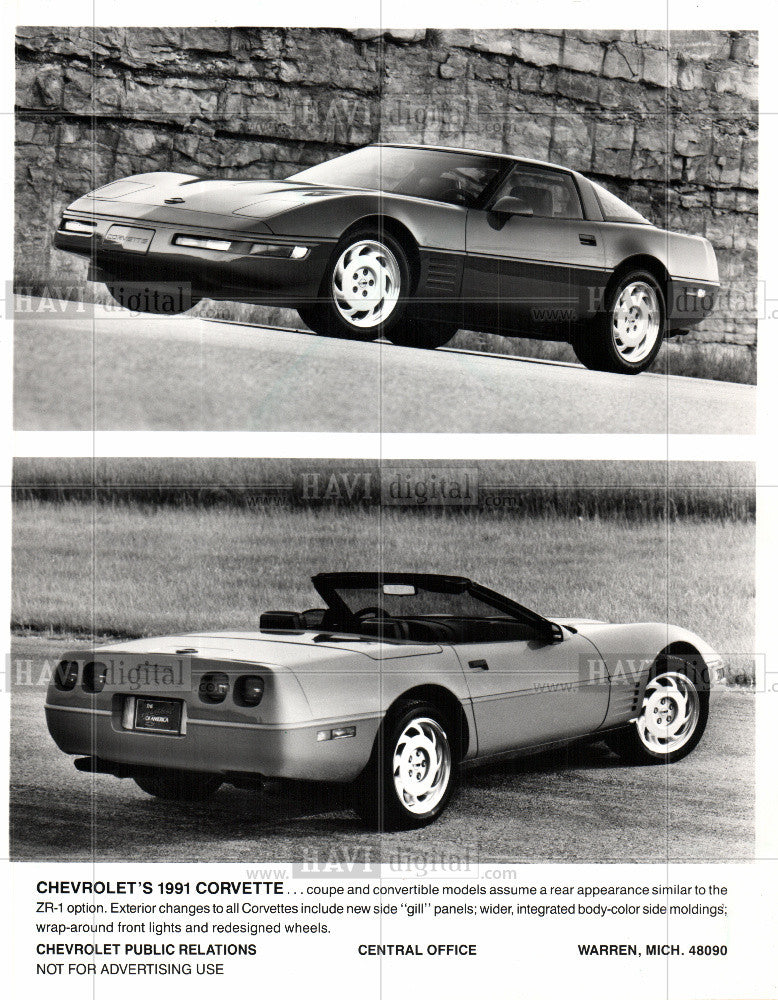 Press Photo CHEVROLET'S 1991 CORVETTE coupe gill - Historic Images