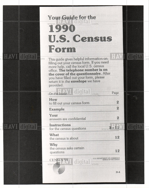 1990 Press Photo 1990 Census, handbook, guide - Historic Images