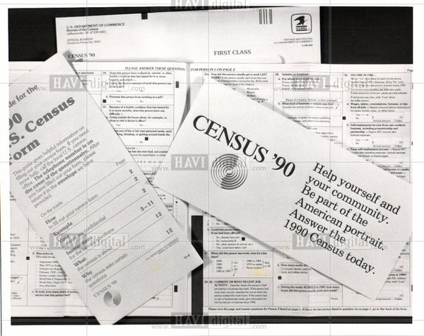 1990 Press Photo Census government forms 1990 - Historic Images