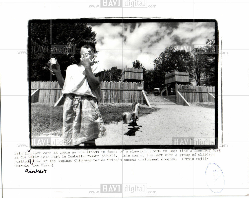 1993 Press Photo Ellen Rueckert, playground, fort - Historic Images