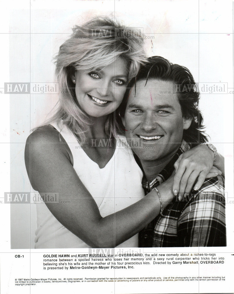 1987 Press Photo Goldie Hawn Actress Overboard - Historic Images