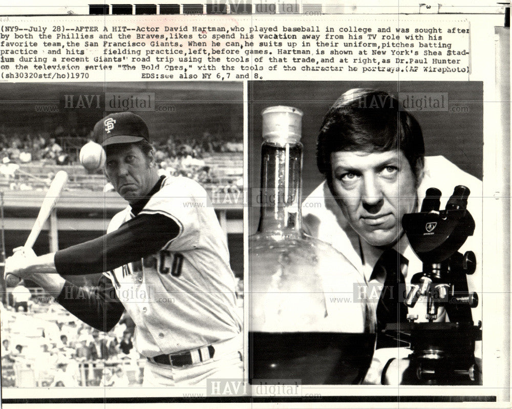 1970 Press Photo David Downs Hartman baseball actor - Historic Images
