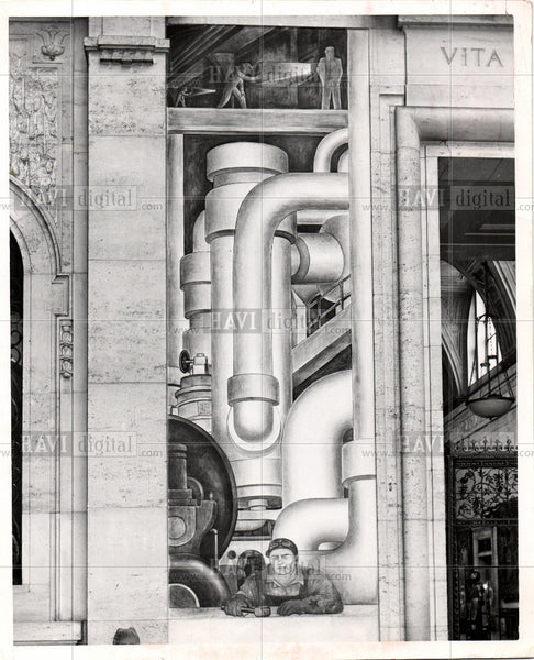 1952 Press Photo Diego Rivera  murals - Historic Images