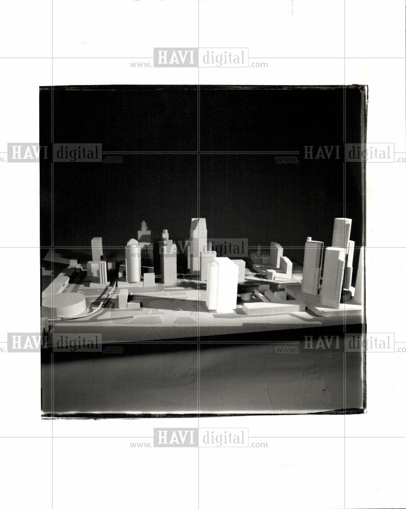 1990 Press Photo Detroit Architecture Comerica Tower - Historic Images