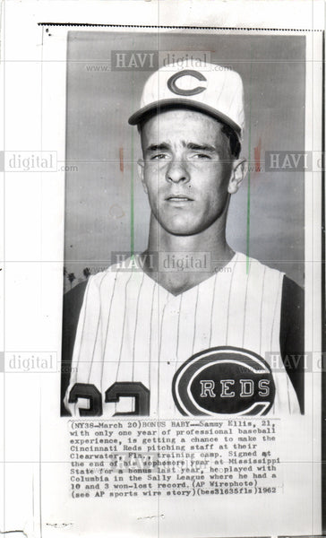 1964 Press Photo Sammy Ellis Reds pitching Clearwater - Historic Images