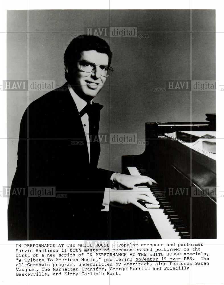 1986 Press Photo Marvin Hamlisch American composer - Historic Images