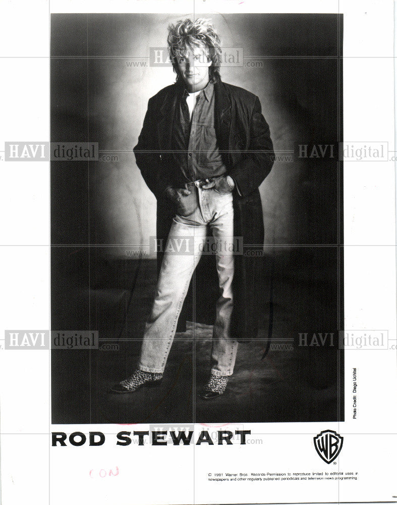 1991 Press Photo Rod Steward Rock,pop blues rock Singer - Historic Images