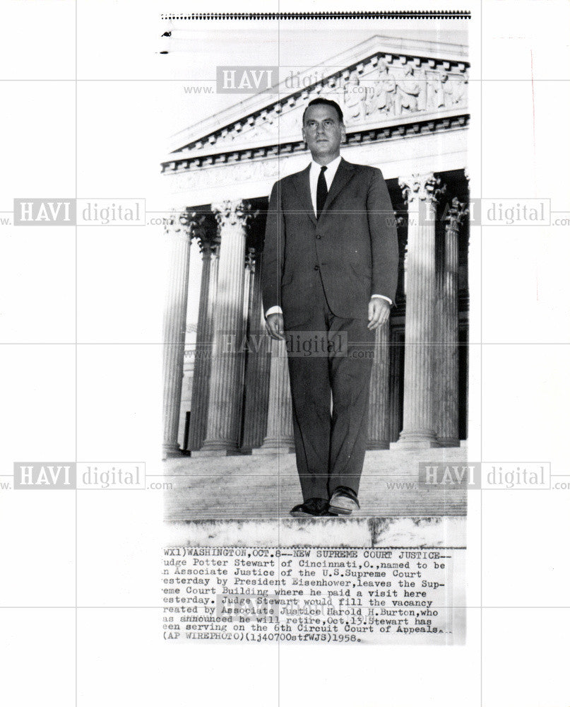 1958 Press Photo Supreme Court Judge Potter Stewart - Historic Images