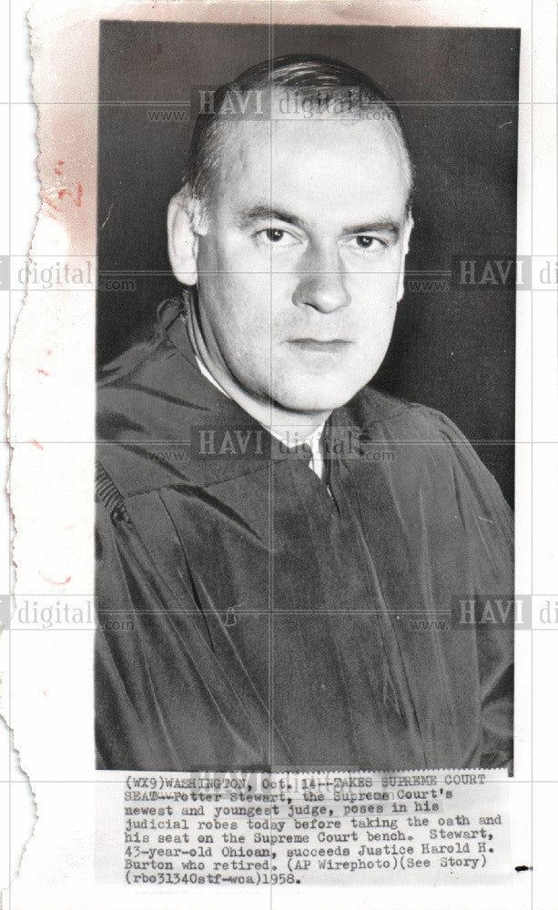 1958 Press Photo Potter Stewart Appointed Supreme Court - Historic Images