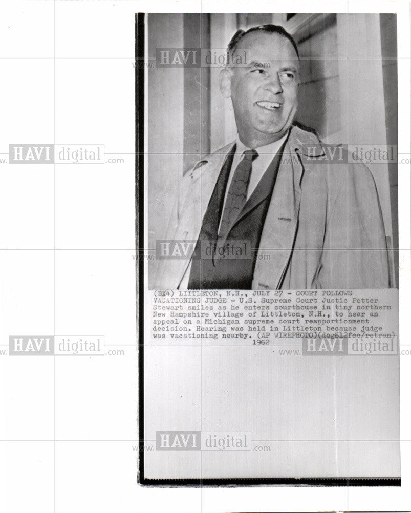 1962 Press Photo Justic Potter Stewart - Historic Images