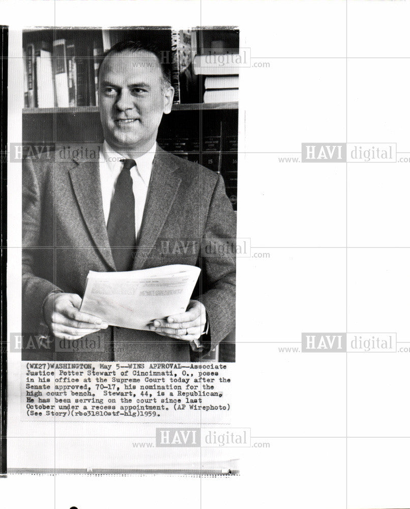 1959 Press Photo Potter Stewart Associate Judge Court - Historic Images