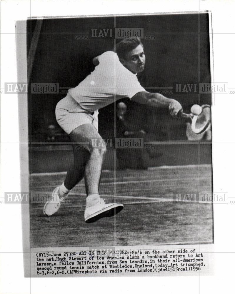 1956 Press Photo Hugh Stewart Wimbledon tennis singles - Historic Images