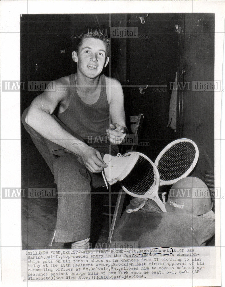 1947 Press Photo Pvt. High Steward, Tennis Player - Historic Images