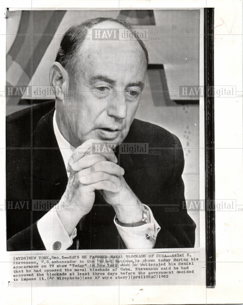1962 Press Photo ADLAI E.STEVENSON - Historic Images